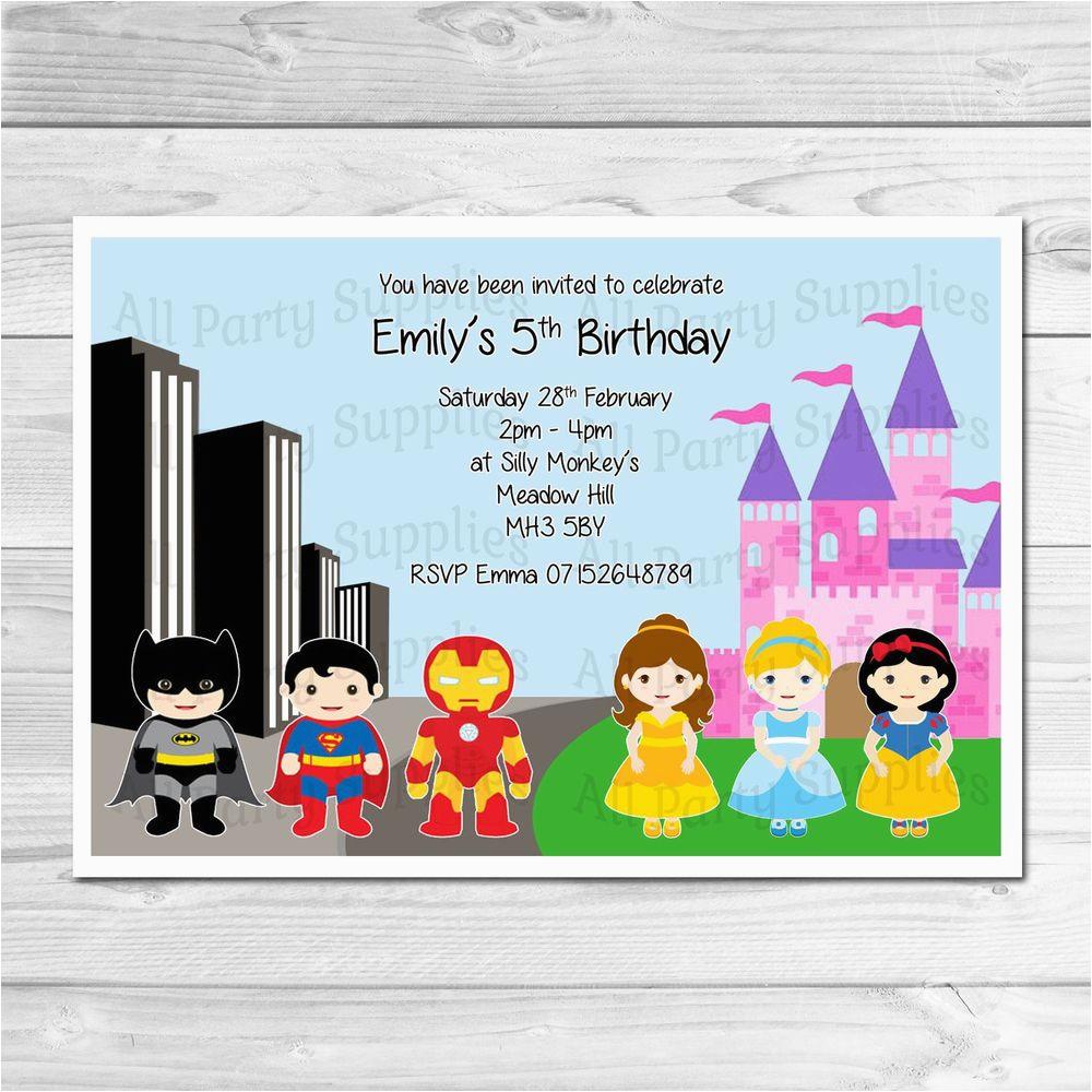 Personalised Superhero Party Invitations Envelopes Birthday Invites superheroes