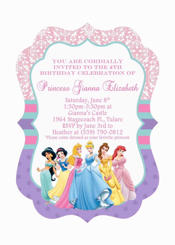 Princess Themed Birthday Invitation Cards Disney Princesses Invitations
