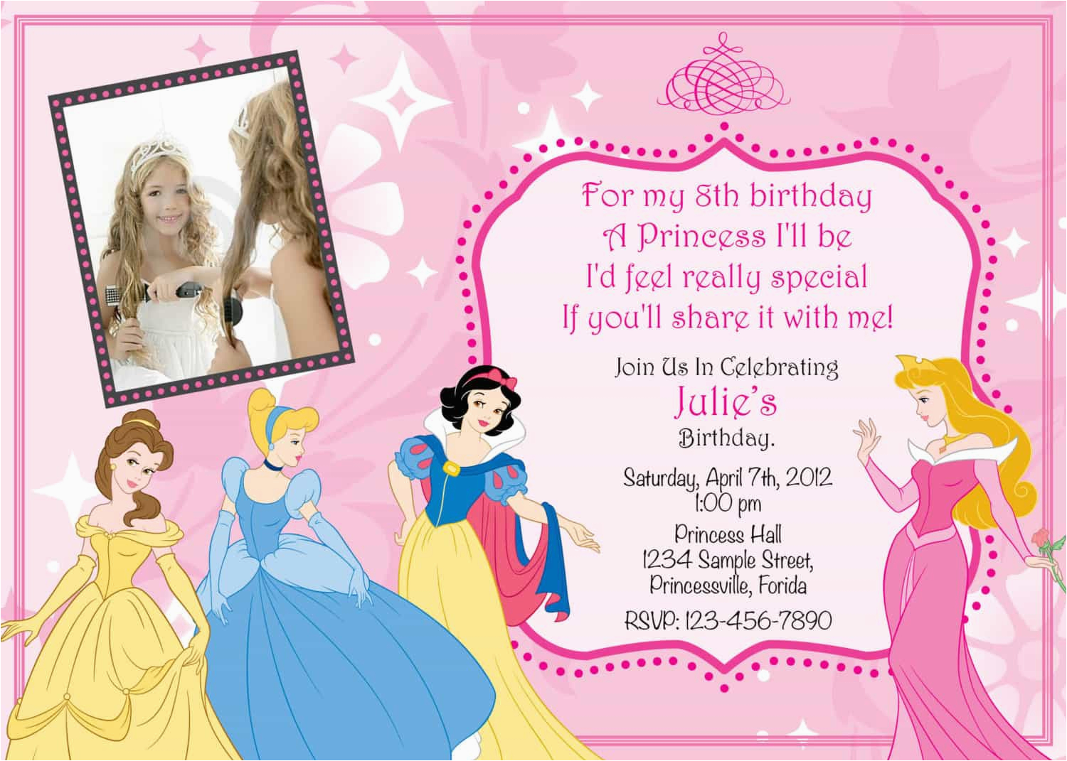 Princess Themed Birthday Invitation Cards Unique Ideas For Invitations Egreeting
