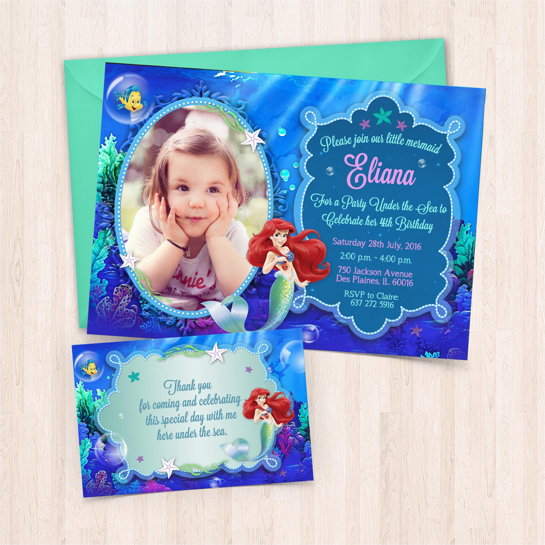 Print Birthday Invitations at Home Free Printable Ariel Birthday Invitations Free Thank You Cards