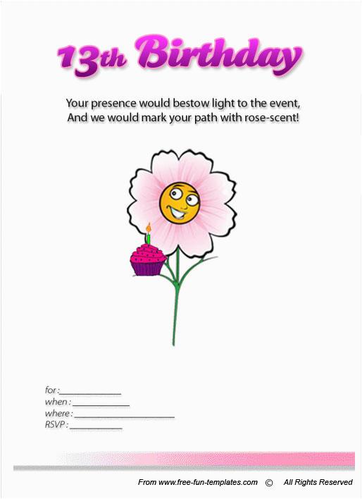 post free printable 13th birthday invitations templates 429719