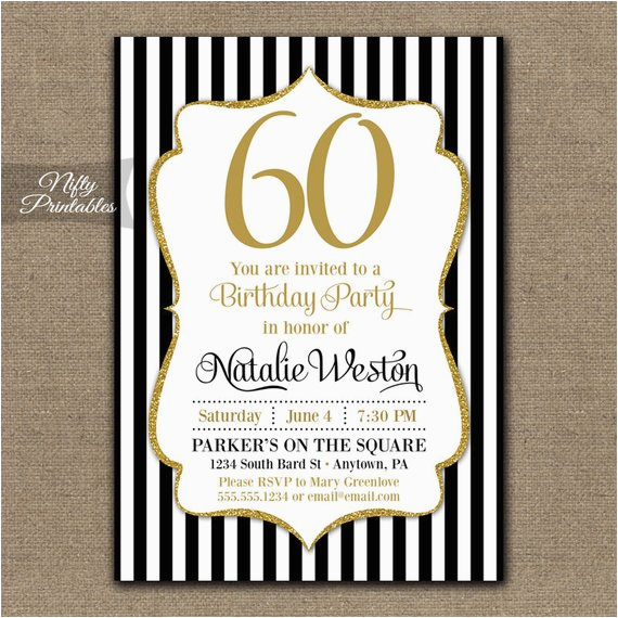 Printable 60th Birthday Invitations Black Gold Glitter 60 Bday
