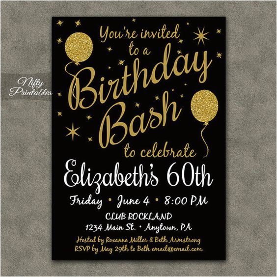 Printable 60th Birthday Invitations 60 Black Gold