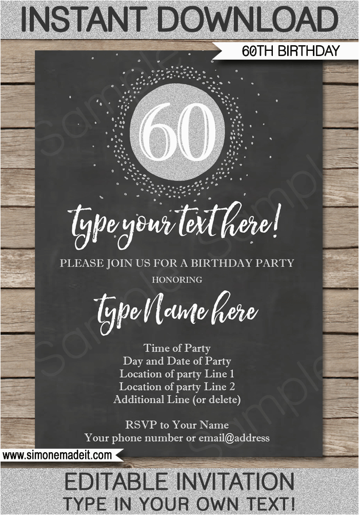 Printable 60th Birthday Invitations Chalkboard Invitation Template Silver Glitter