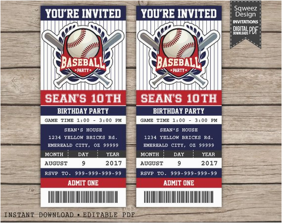 Printable Baseball Ticket Birthday Invitations Invitation