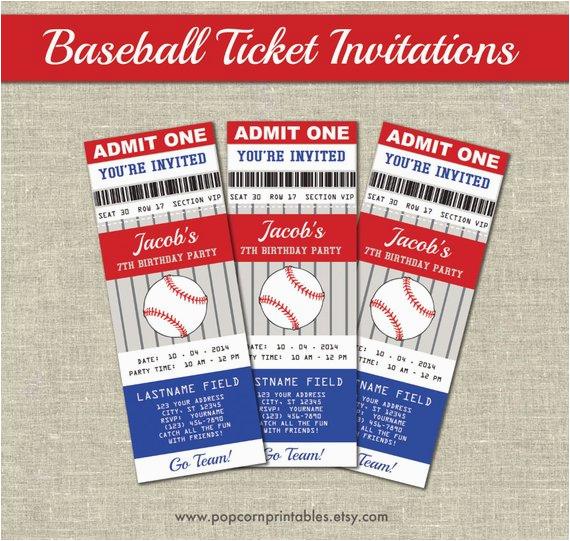 Printable Baseball Ticket Birthday Invitations Printables Editable Text Pdf