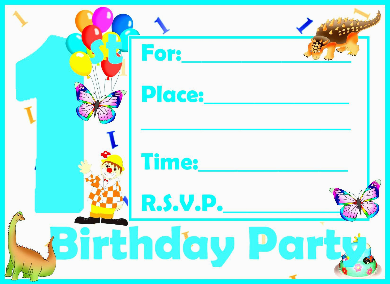 birthday invitation card template kids