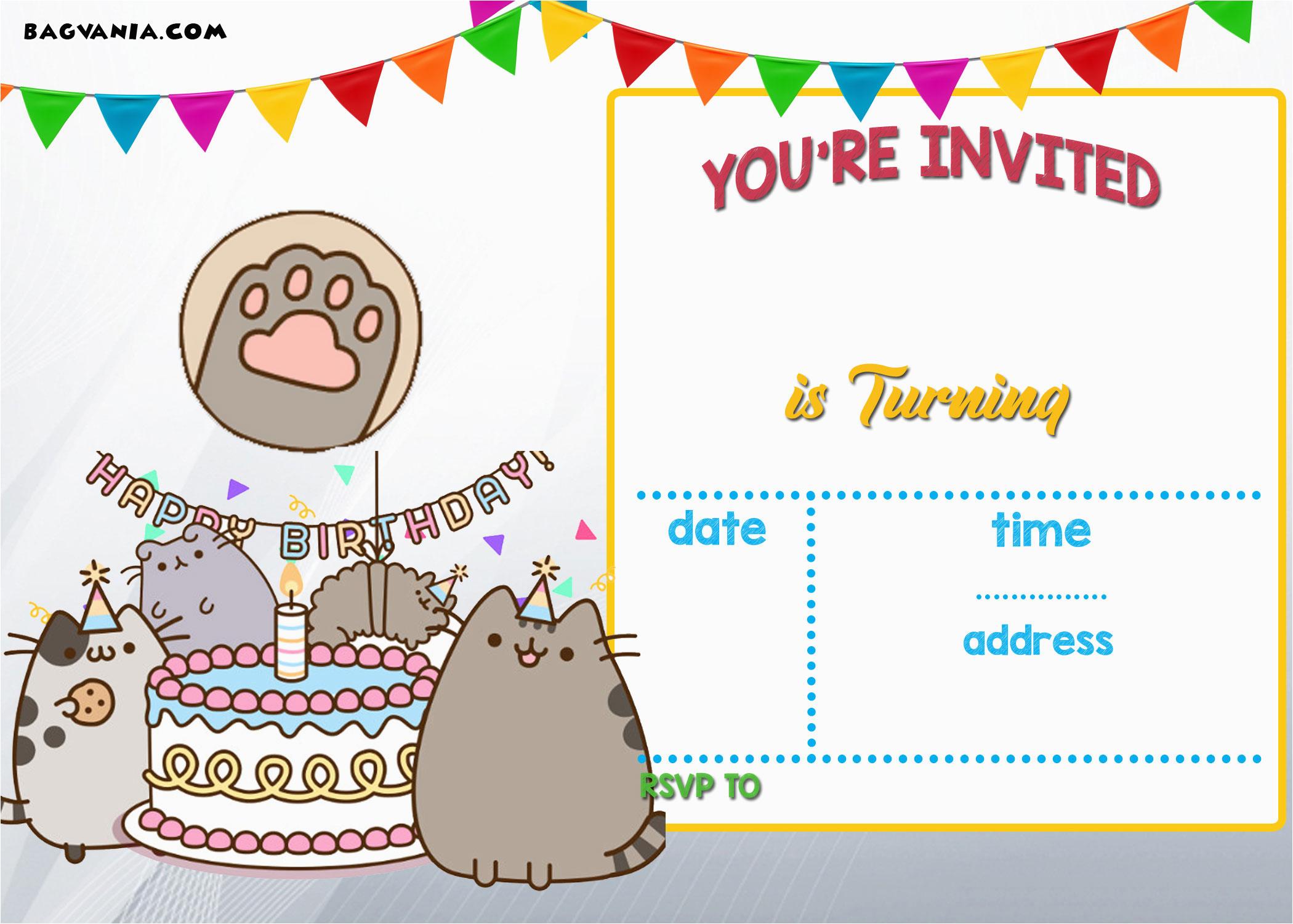 Printable Birthday Card Invitations Free Pusheen Invitation Template
