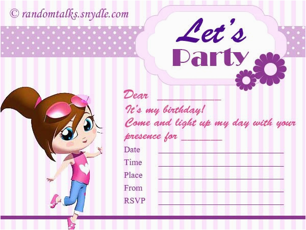 Printable Birthday Card Invitations Printable Birthday Invitation Cards