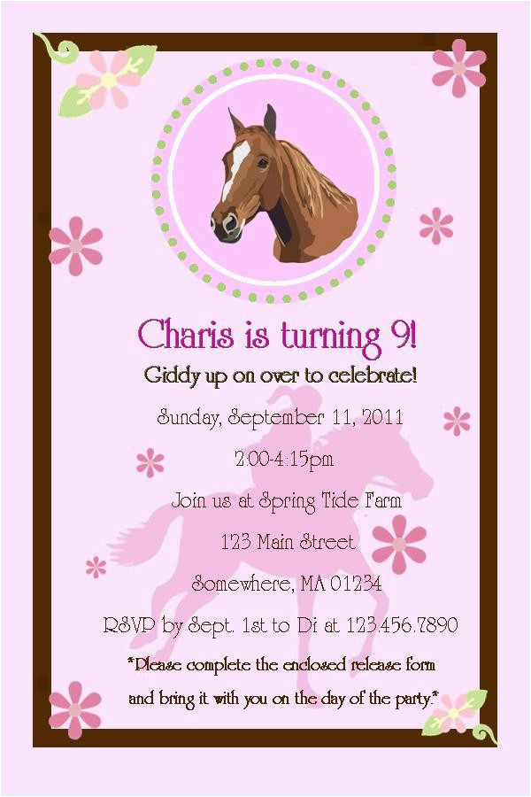 Printable Birthday Invitations Horse Theme Free
