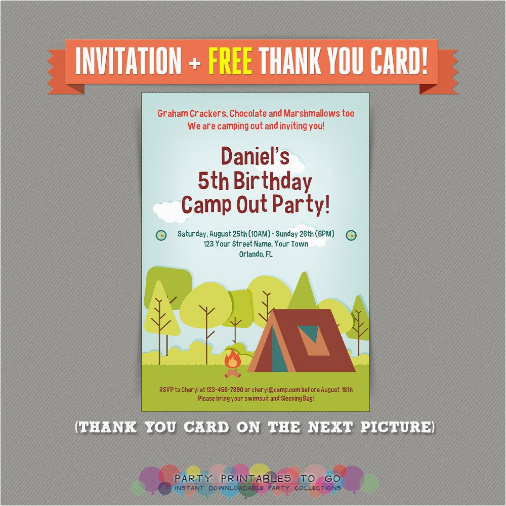 Printable Camp Out Birthday Invitations Camping