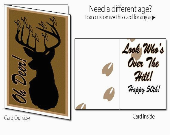 Printable Funny 70th Birthday Cards Card Deer Hunting 40th 50th 60th