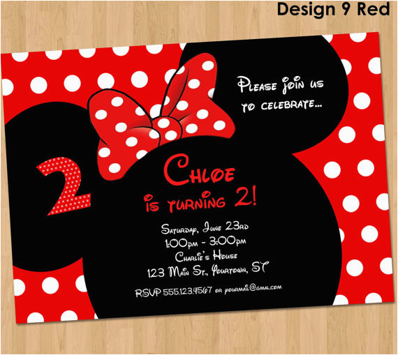 minnie mouse invitation printable birthday party custom