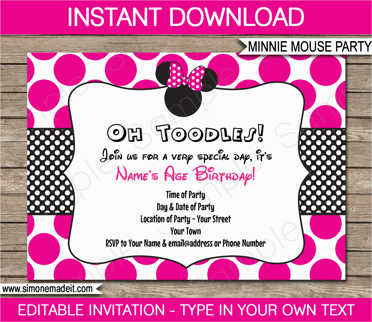 minnie mouse party invitations template birthday party
