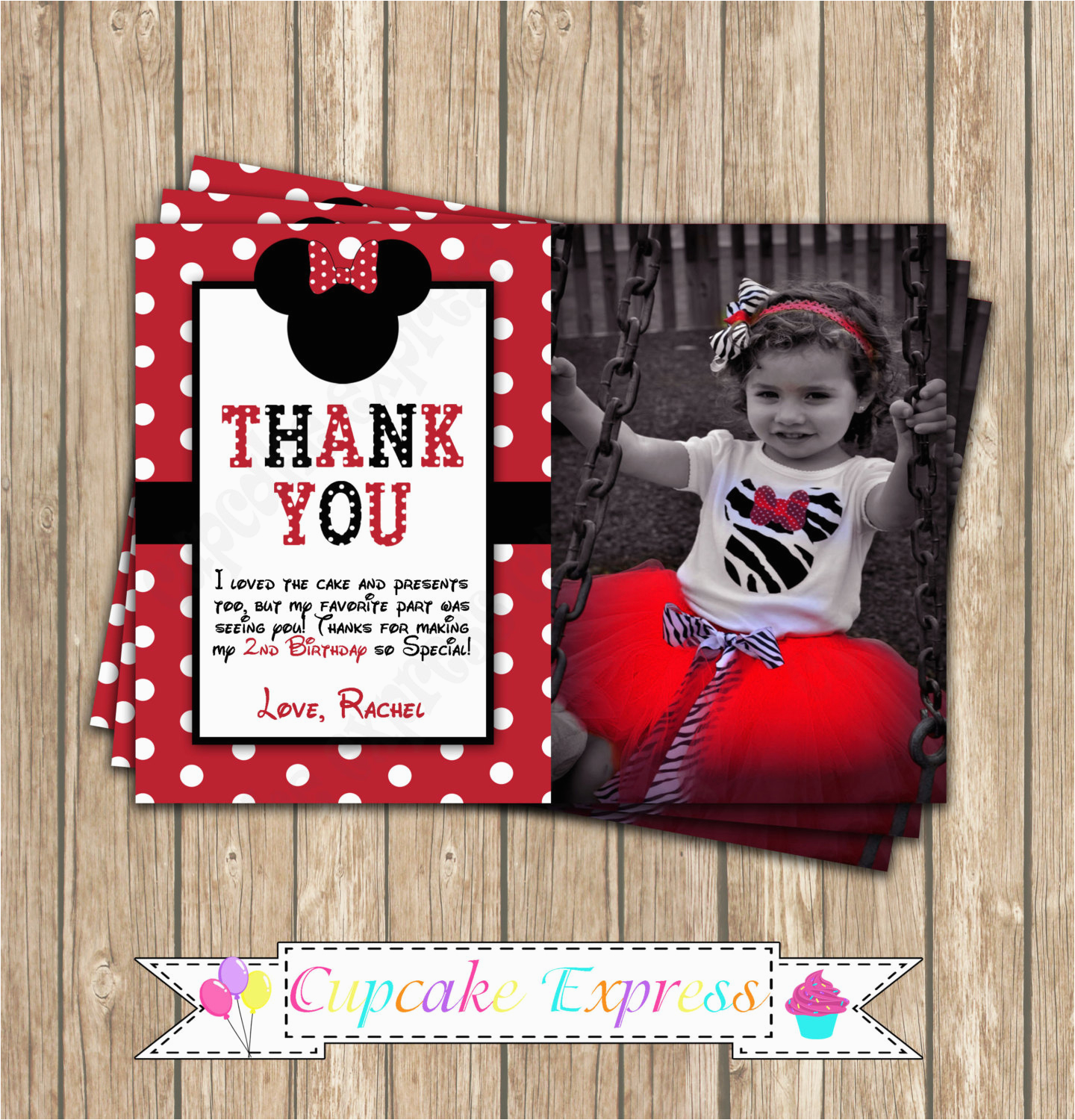 minnie mouse red thank you card photo printable birthday