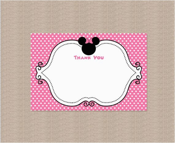 printable minnie mouse thank you card by honeyprint on etsy