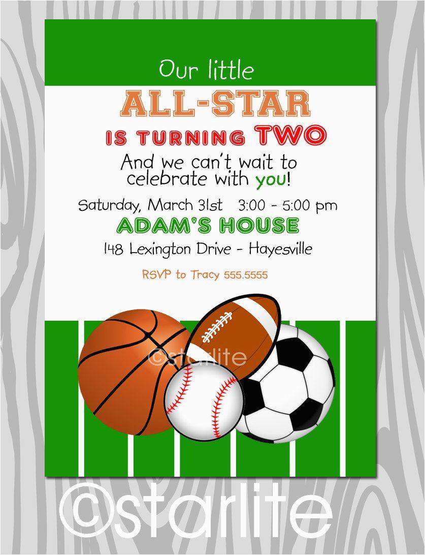 all star birthday party invitation sports theme