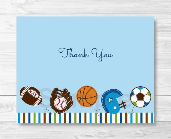 cute sports baby shower thank you card sports baby