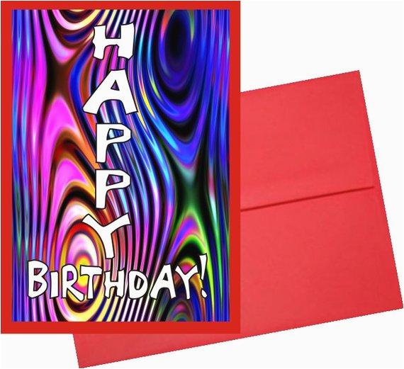 custom card psychedelic happy birthday