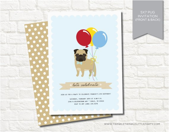 blue boy pug birthday party digital