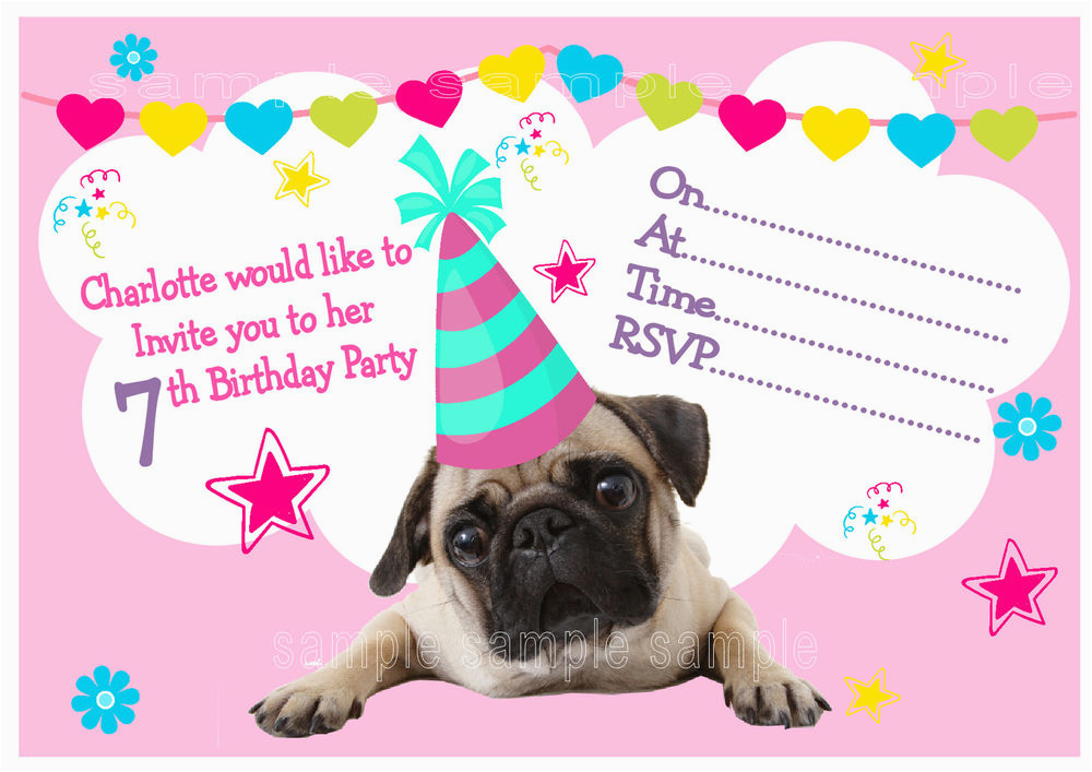 Pug Birthday Invitations Personalised Pug Birthday Party Invitations or Thank You