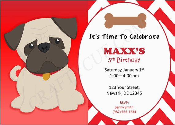 pug birthday invitation puppy party