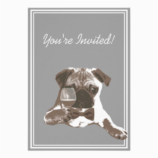 Pug Birthday Invitations Pug Fine Wine 30th Birthday Party Invitation Zazzle