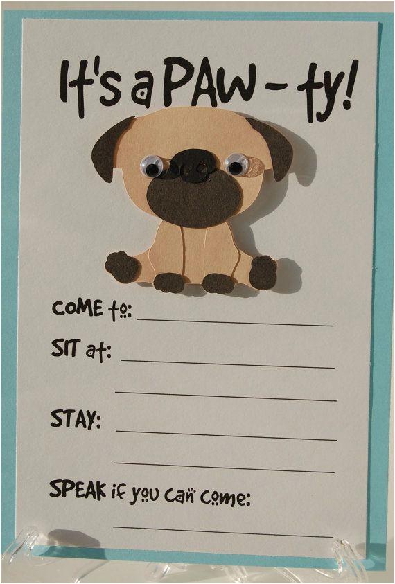 Pug Birthday Invitations Pug Party Invitation Puppy Birthday Invites Dog Party