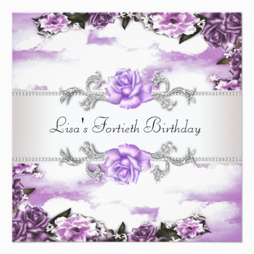 Purple 40th Birthday Decorations Roses Womans Party 13 Cm X