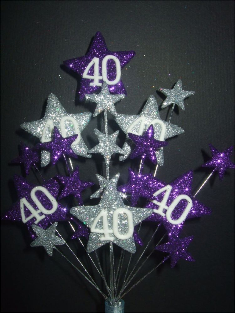 star age 40th birthday cake topper in purple silver postage 325 169 p