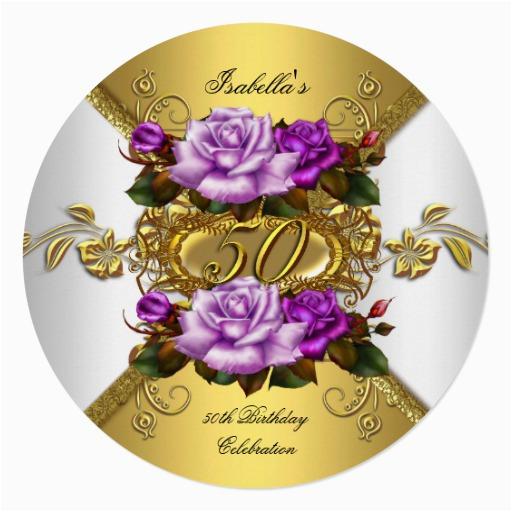 Purple 50th Birthday Decorations Party Elegant Roses Gold R Invitation