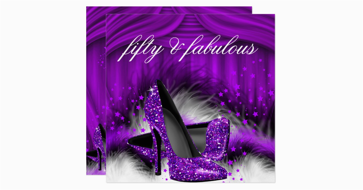 Purple 50th Birthday Decorations Fabulous 50 High Heels Party Card