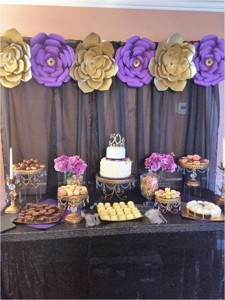 Purple 50th Birthday Decorations Gold And Black Party Ideas En 2018