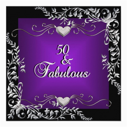 Purple 50th Birthday Decorations Personalized Elegant Black Silver Invitations