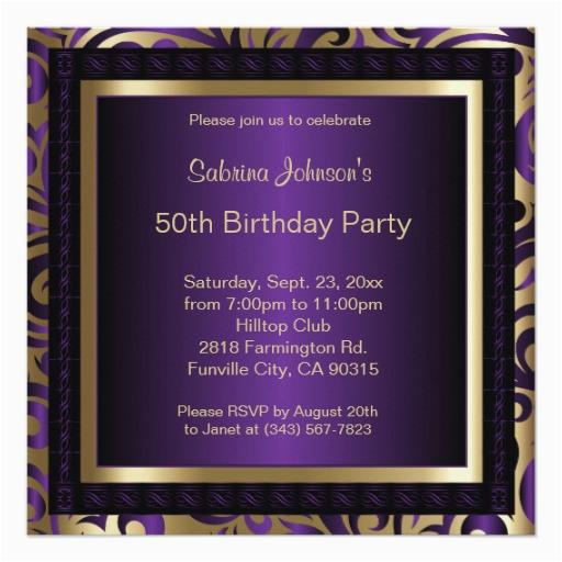 Purple and Gold 50th Birthday Invitations 50th Birthday Party Purple Metallic Gold Invitation