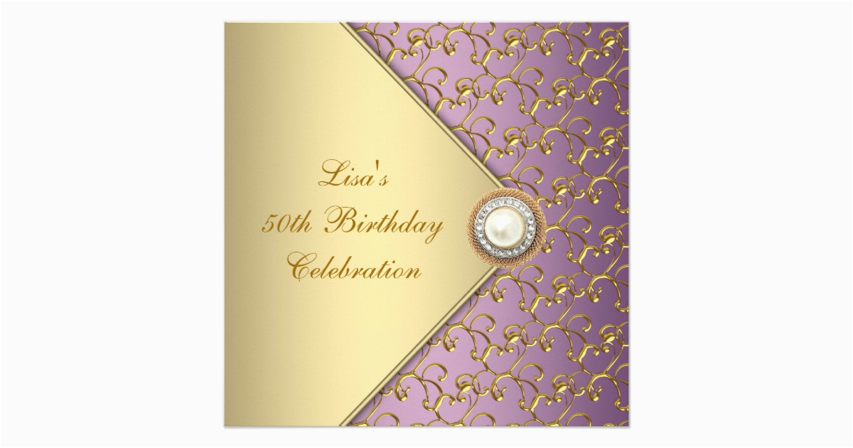 Purple and Gold 50th Birthday Invitations Elegant Purple and Gold Womans 50th Birthday Party Card