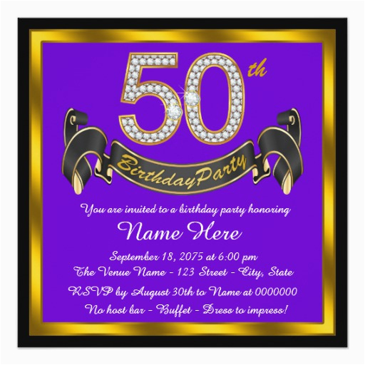 purple and gold 50th birthday party invitation 161929536973676416