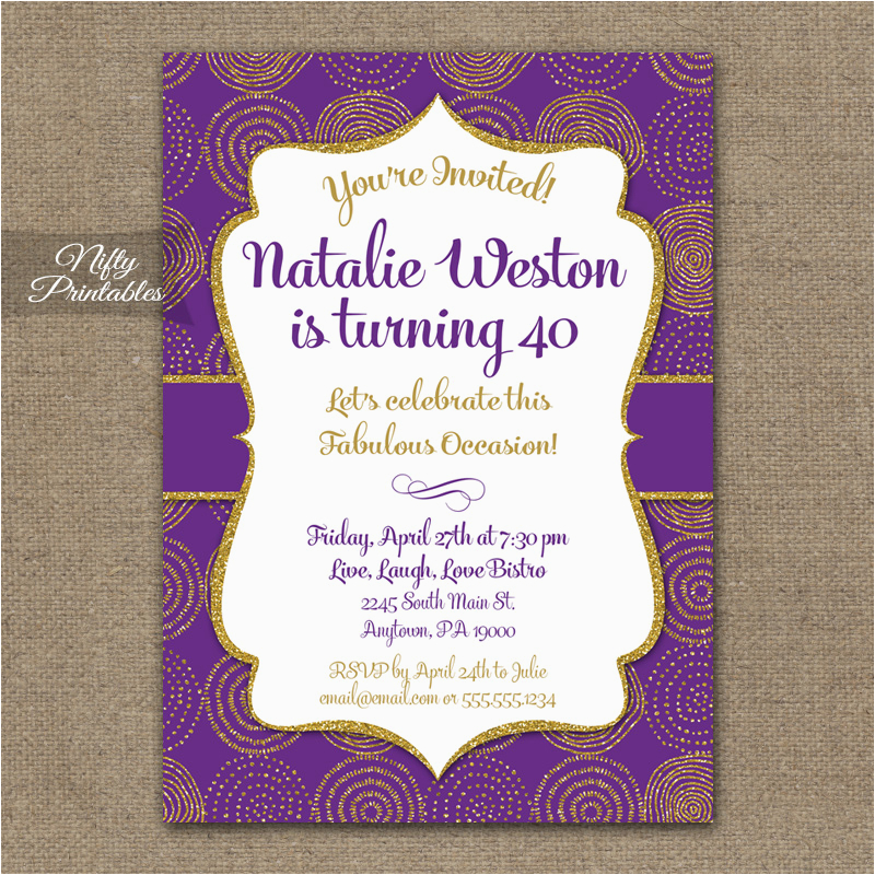 Purple And Gold 50th Birthday Invitations Nifty Printables