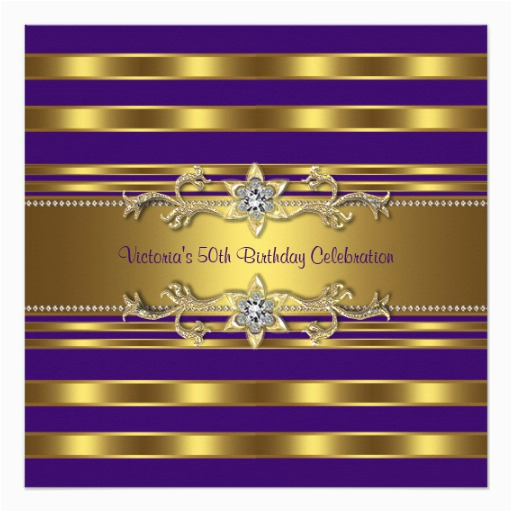 purple gold womans 50th birthday party invitation 161339763243347027