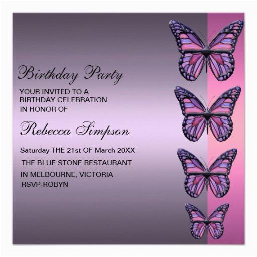 Purple Butterfly Birthday Invitations Pink Invitation Zazzle