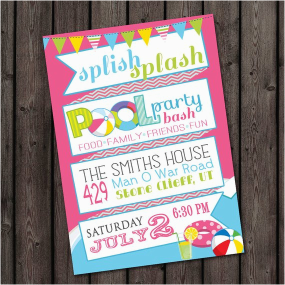 Quick Birthday Invitations Fast Ship Pool Party Invitation Customized Wording Included