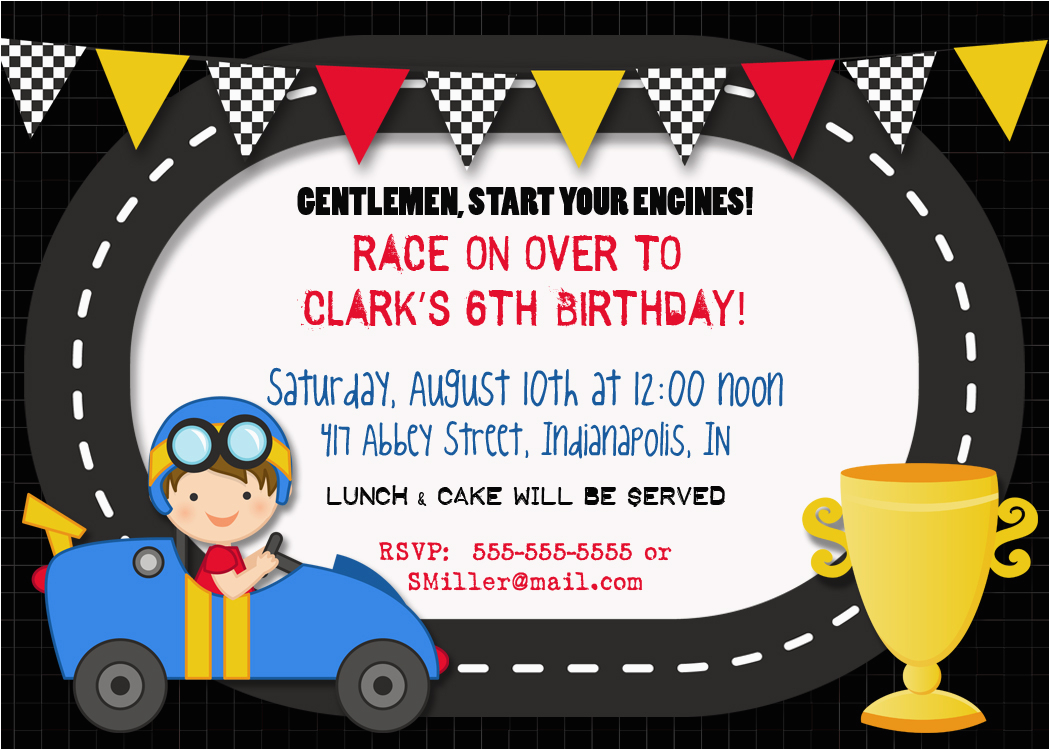 40th birthday ideas free race car birthday invitation