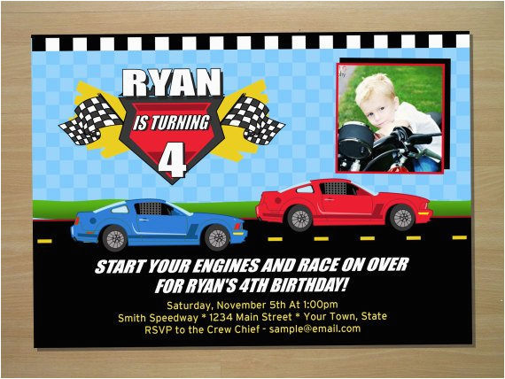race car birthday invitation digital file by squigglesdesigns