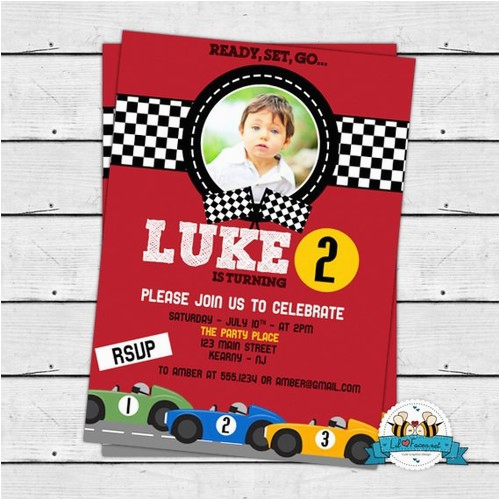 racing car birthday party photo invitation race car