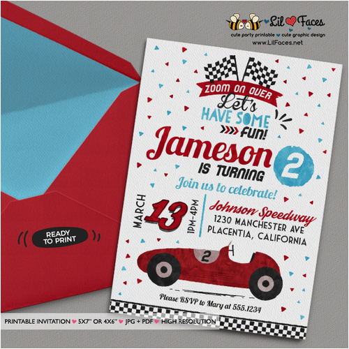 red racing car invitation diy race car birthday party