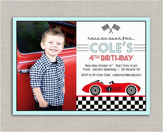 Race Car Birthday Invitations with Photo Vintage Race Car Birthday Invitation