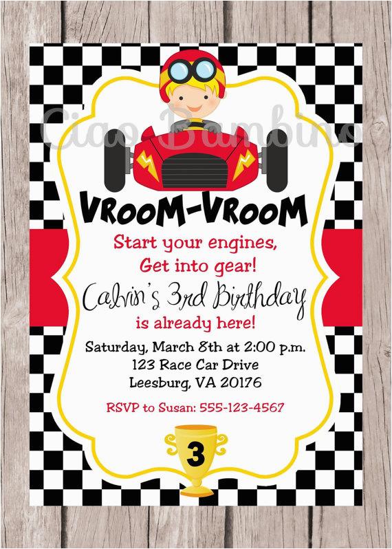 printable race car birthday party invitation
