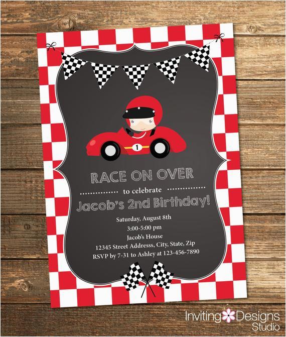 race car birthday invitation boy birthday second birthday