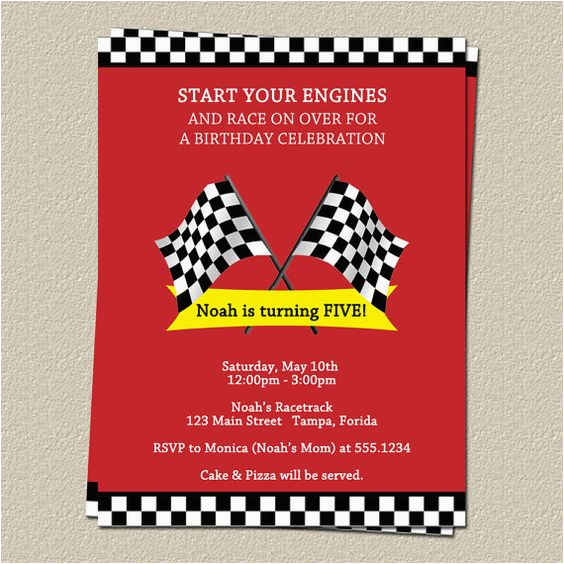 race track birthday party invitations boys red