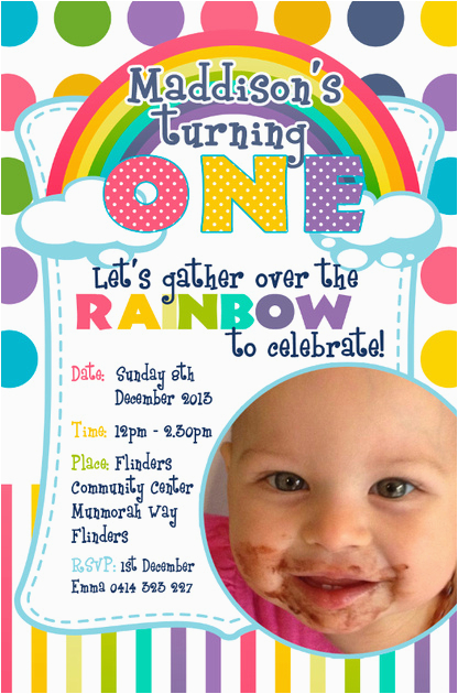 Rainbow First Birthday Invitations Dream Designs Photography 1st Invitation